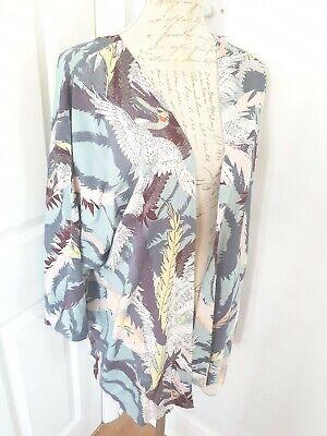 Junarose Kimono Jacket Cover Up Turquoise Bird Leaf Print 18