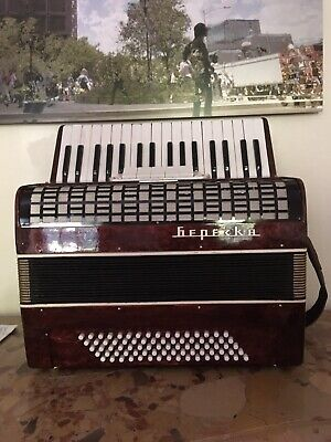 Listen in video Handsome Vintage Red Accordion: 80 Bass 34 Treble w/ 5 Registers