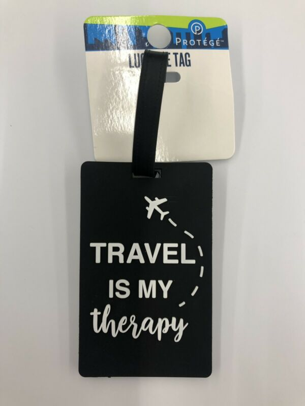 Travel Is My Therapy Black Luggage Gab Tag
