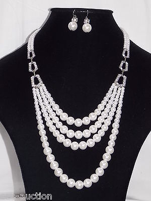 Gorgeous White 4 Rows Graded Pearl W. Clear Crystal Necklace & Hook Earrings (Gorgeous Pearl Set)