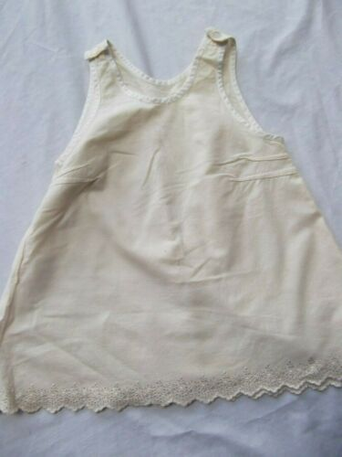 vtg antique slip dress baby sz 2 handmade french metis linen embroid scallop