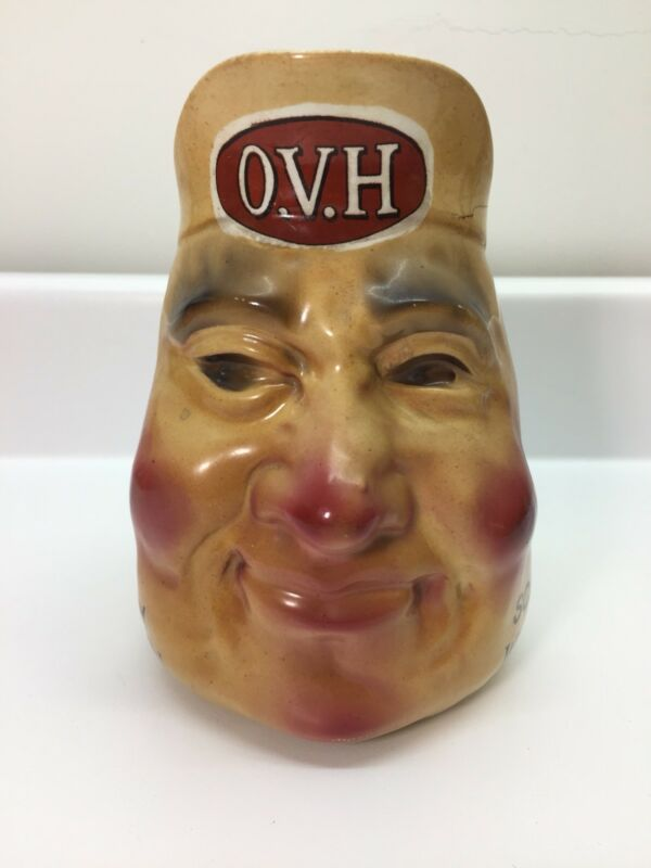 Antique OVH Scotch Whiskey Ceramic Figural Face Pitcher, Greer & Co Glasgow