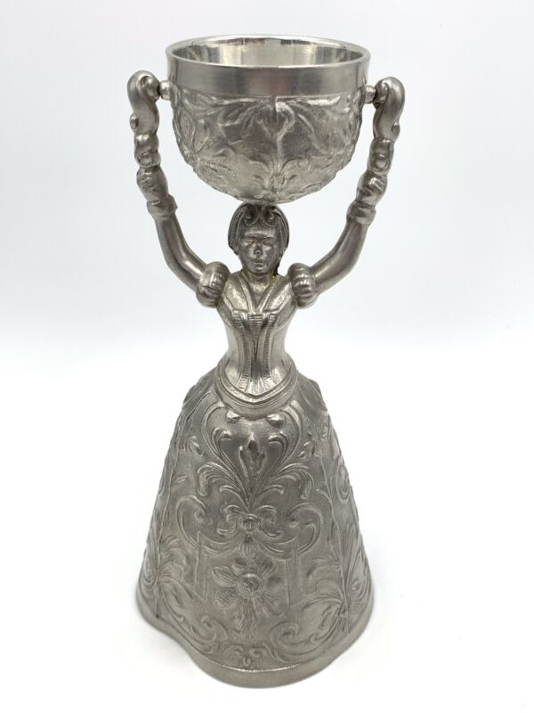 Vintage Fein Zinn Pewter Ornate Bride Groom Wedding Toasting Chalice Cup