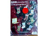 JANLYNN Stocking Christmas Ornaments Cross Stitch  #21-83 NEW 1997