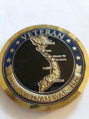 VIETNAM VETERAN MAP ENGRAVABLE CHALLENGE COIN Enameled Service Ribbon