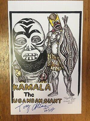 Tony Atlas Autographed KAMALA 11x17 Drawing Print-Dark Side Of The Ring WWF WWE