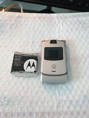 Motorola RAZR V3 - Silver (Unlocked) Cellular Flip Phone GSM T-mobile Metro Pcs for sale  Summit-Argo