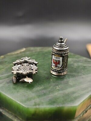"Vintage German mug/ Cuckoo Clock Charm Marked ""800"" Silver 3/4"""
