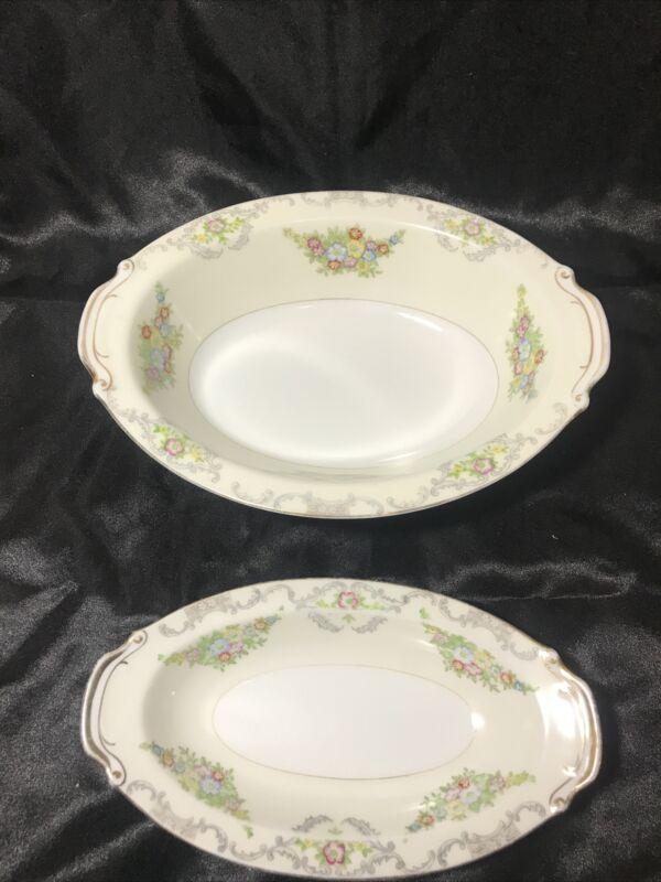 Vintage Marlboro Gold Rimmed Floral Pattern China Serving Bowls