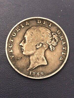 1849 Halfcrown Rare Date British Silver Half Crown Coin