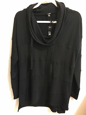Cable & Gauge M Black Tunic New NWT Cowl Neck $60 Women pullover comfy medium ()