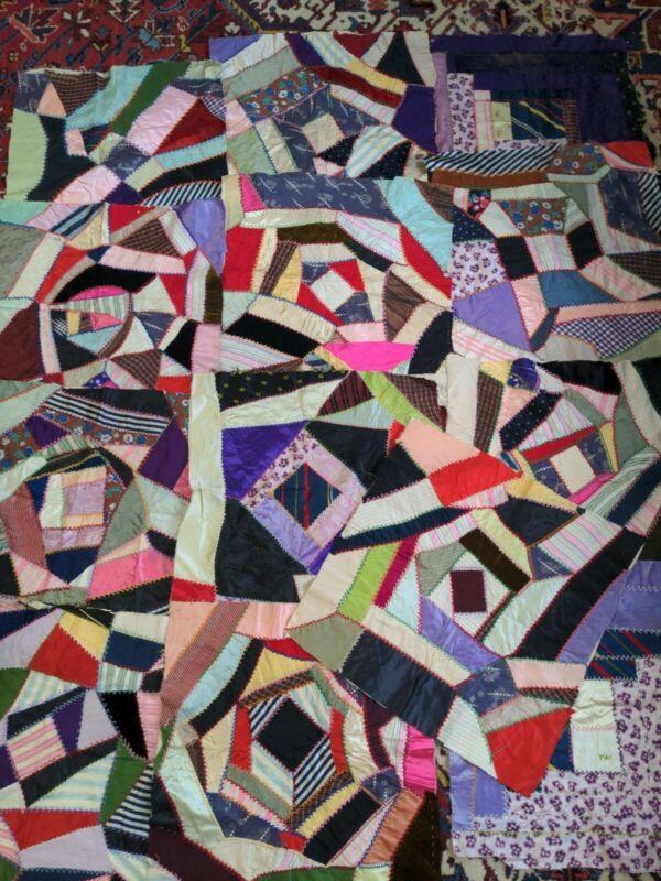 Lucky 13 Antique Crazy Quilt Blocks Handsewn Nice Fabrics
