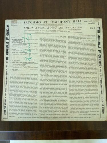 Jazz Great Louis Armstrong Signed Record Album JSA Cert Satchmo at Symphony Hall