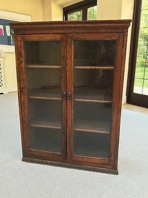 Antique Oak Library Bookcase Display Cabinet Glass Doors 80*25*106cm