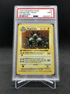 1999 Pokemon Game 1st Edition Base Shadowless Magneton Holo Rare PSA 9 MINT!