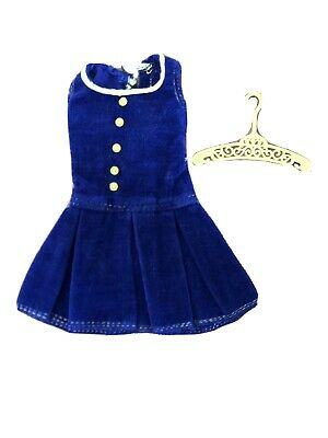 RARE Vintage Barbie Francie 1967 PAK Pleat Neat Blue Corduroy Dress