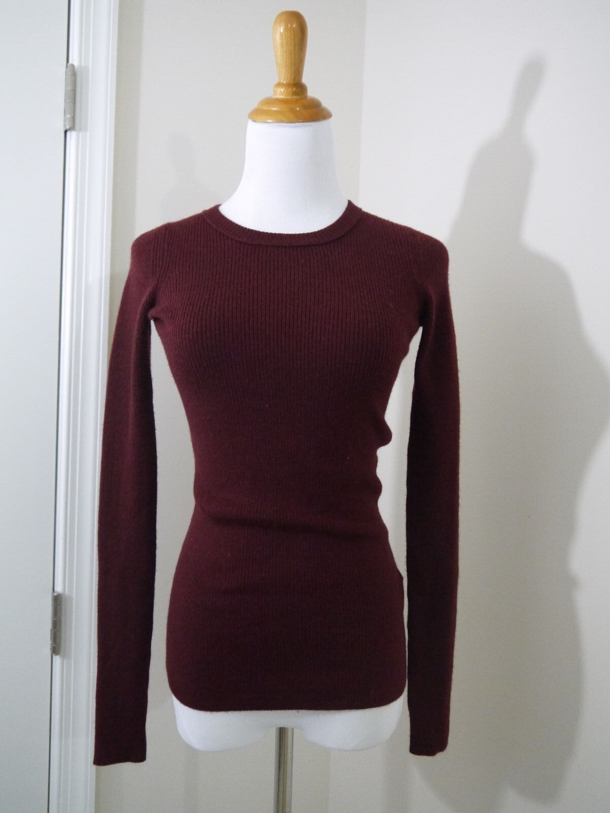 $85 J.Crew Stretch Ribbed Merino Wool Sweater Burgundy XXS item ...