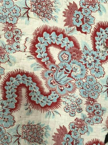 STUNNING antique French quilt fragment red blue hand block printed