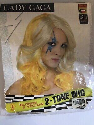 Lady Gaga Blonde & Yellow Wig Women Costume Accessory Adult Halloween Rock Star - Lady Gaga Yellow Wig