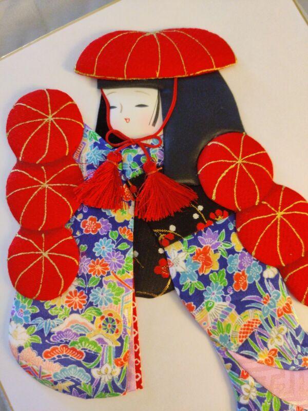 "OSHIE(?) 3D 👘 Puffy Textile Kimono Girl JapaneseWall Art Red Green 9.5""x10.75"""