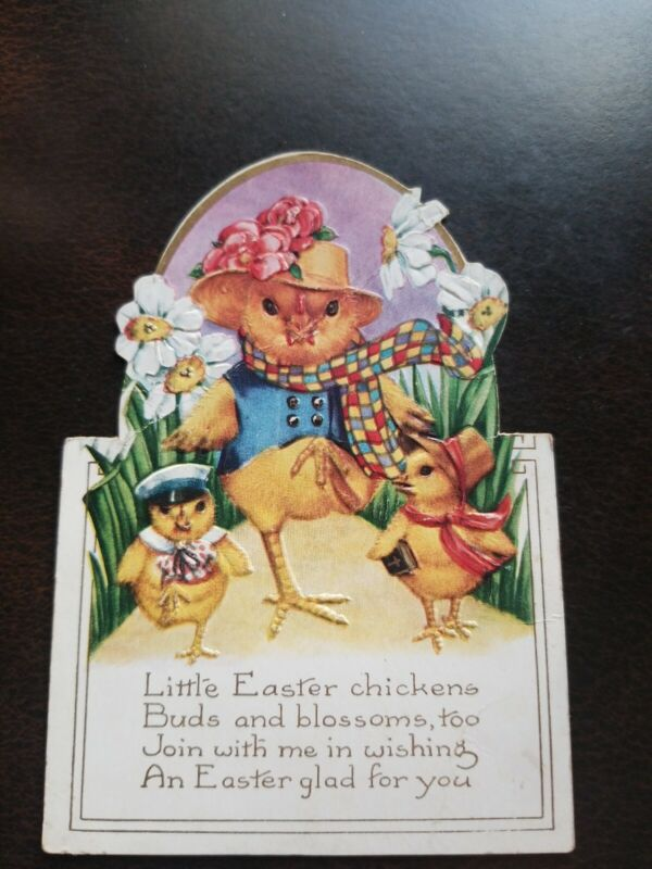 Vintage 1920s Embossed Easter Chicks Greeting Card