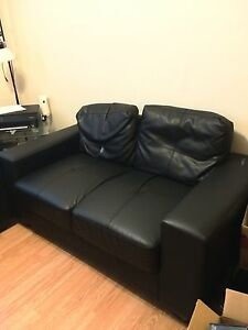 matching black leather chair & love seat