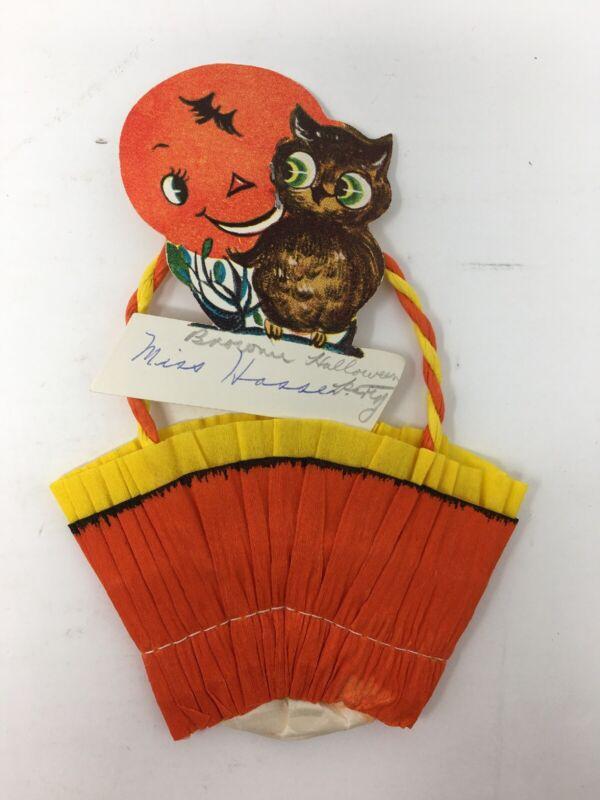 Vintage Halloween Crepe Paper Party Favor Candy Treat Cup Owl Orange Moon Bat