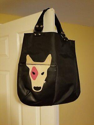 Gorgeous Black Purse Handbag with a dog design, Dog Tote Bag Puppy - Black Dog Designer Handbag
