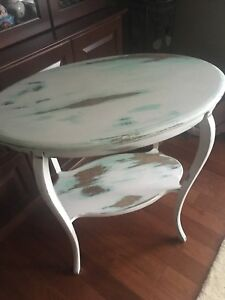Chalk painted antique oval table