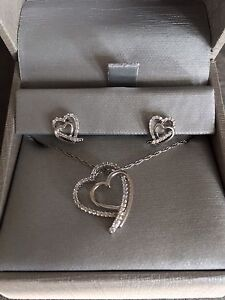 Silver earrings and necklace set