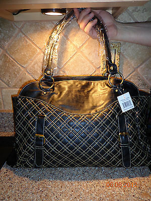 NEW!! BLACK DETAIL STITCH/GOLD METAL WARE FAUX LEATHER LARGE TOTE/PURSE