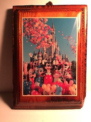 Vintage Disney Postcard Wood Plaque wall picture postcard Mickey & Friends