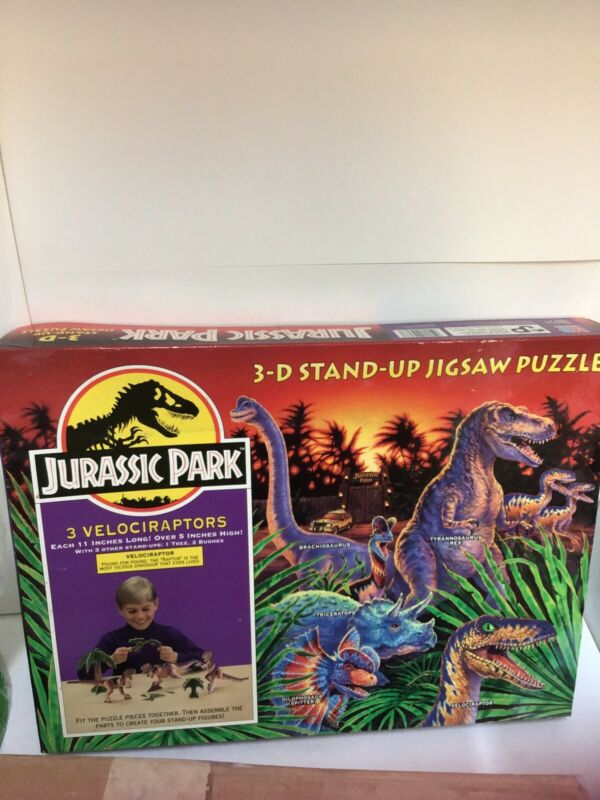 Vintage Jurassic Park 3-D Puzzle Dinosaur Velociraptor Raptor figures 1992 NEW