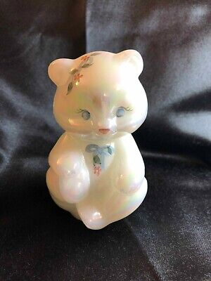 Fenton Sitting Bear  Hearts and Flowers