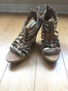 Qupid Snakeskin Gladiator Wedge Heels