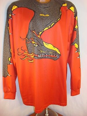 FILA Mens Polyester LS Athletic T-Shirt With Dragon Made in Italy Tag Medium ()
