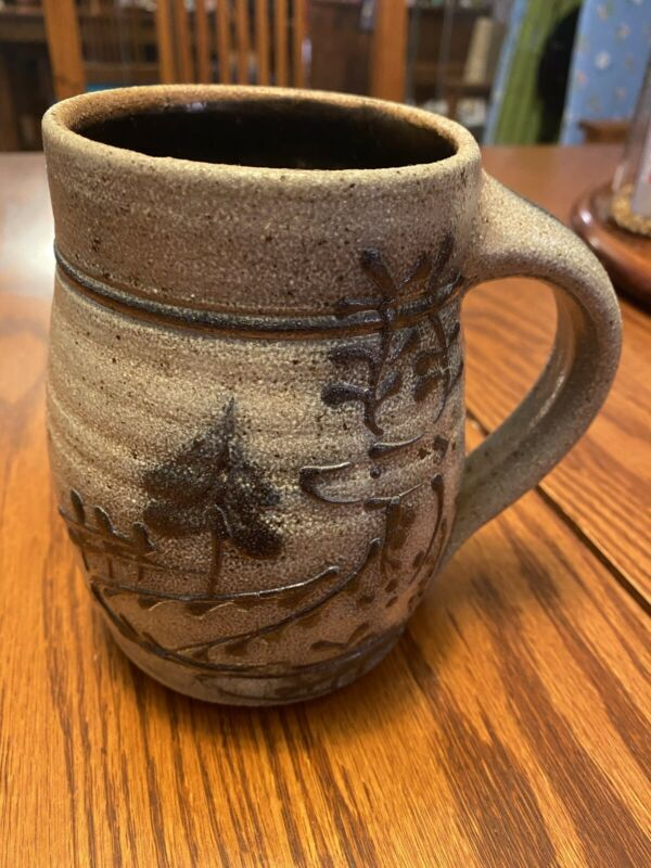 Rowe Pottery Works Salt-Glazed Mug, Trees, 1985. Mint condition.
