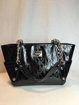 NWT $448 MICHAEL KORS Delancy Black MK Mirror Chain Medium Tote Purse Handbag