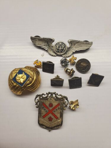 Vintage boyscout and military pins  all pre owned E1