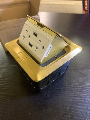 Pop-up Electrical Outlet Box With 2ac Round Receptacles 2 Usb Ports Ul Listed