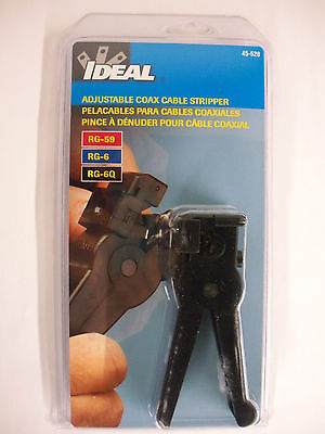 IDEAL Adjustable COAX Cable Stripper 45-520 NEW Ideal Coax Cable Stripper