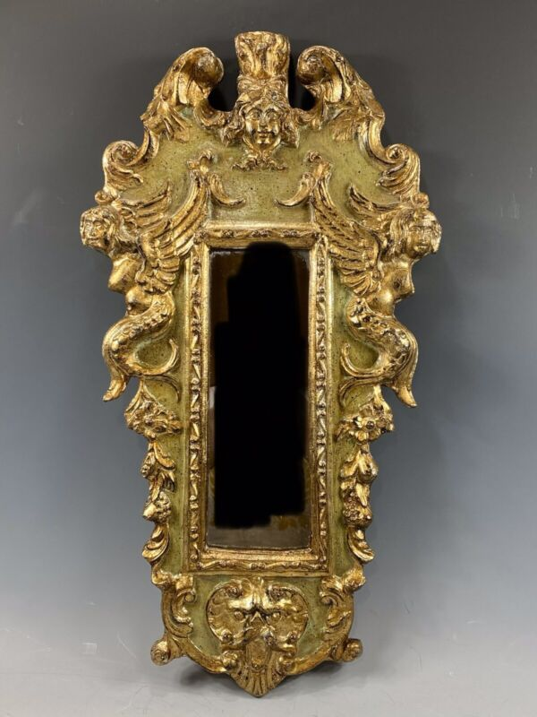 Vintage Cherub/Mermaid Gold Gilt Mirror With Incredible Detail Made In Italy
