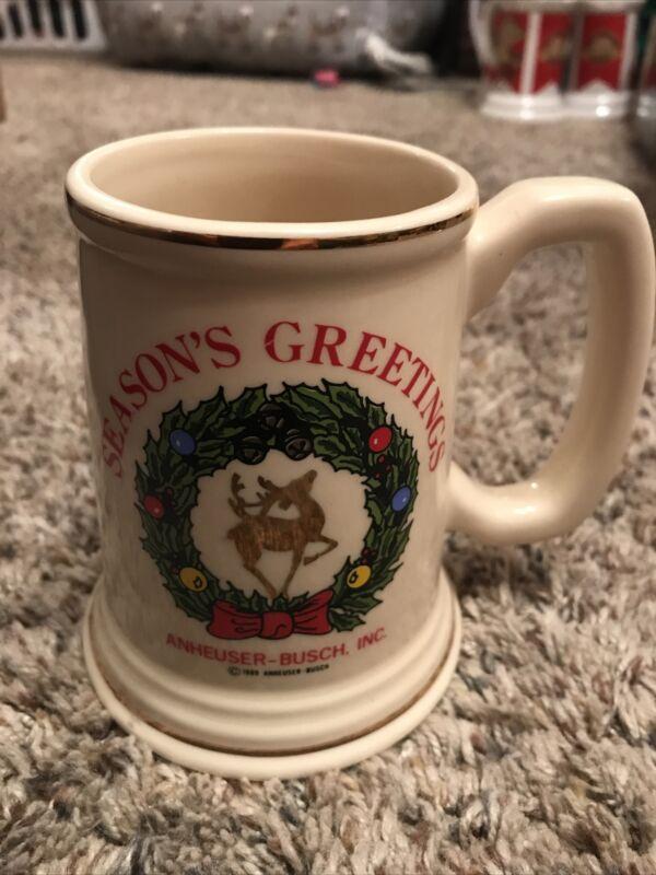 Rare 1989 Anheuser Busch Seasons Greeting Stein #2 Gold Reindeer Budweiser