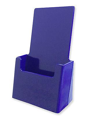 Lot Of 2 Blue Acrylic Tri-fold Brochure Holders Top Quality Made Usa Rack Card
