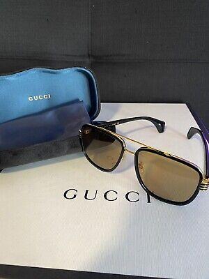 Gucci Sunglasses GG0448S 003 Black Frame   Yellow Lens Aviator 100% Authentic