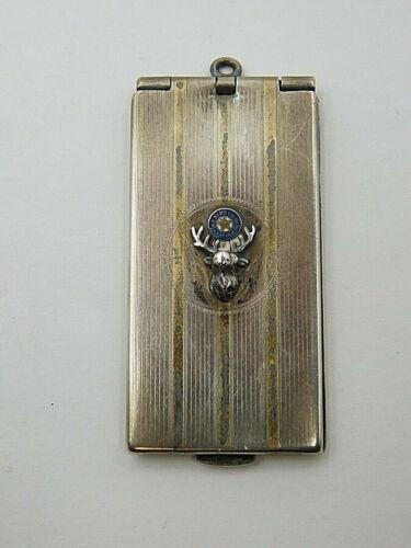 RARE ANTIQUE ELKS STERLING SILVER with 14K Gold STAMP CASE / CARD HOLDER
