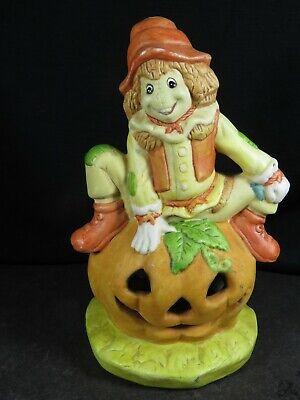 "Vintage Ceramic Scarecrow Pumpkin Halloween Candle Burner 6.5"" B1800"