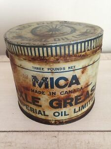 Mica axle grease tin can, motor oil gas pump sign
