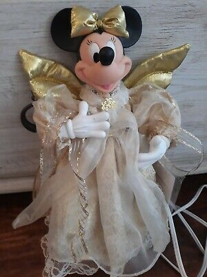 Disney Minnie Mouse Christmas Holiday Angel Animated Tree Topper New