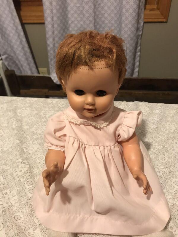 "Vintage 17"" Vinyl and plastic Baby doll rooted Hair Sleep Eyes 1960's"